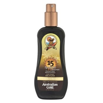AUSTRALIAN GOLD SPF 15 SPRAY GEL SUNSCREEN BRONZER 237 ml / 7.00 Fl.Oz