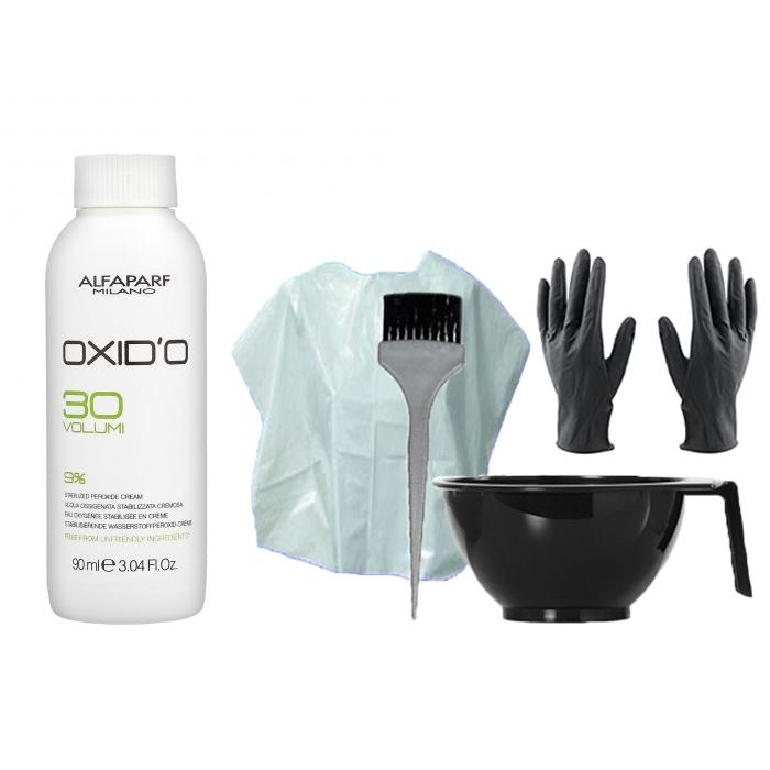 HAIR COLOR KIT AND ALFAPARF MINI OXIDO 30 VOL. (9%) 90 ml / 3.04 Fl.Oz