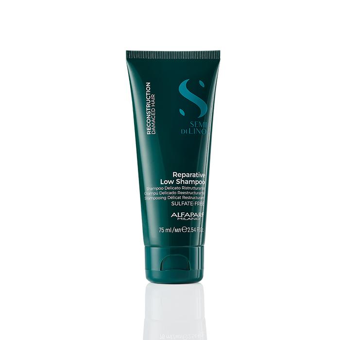 ALFAPARF SEMI DI LINO REPARATIVE SHAMPOO LOW 75 ml - Shampoo ristrutturante per capelli danneggiati e sfibrati