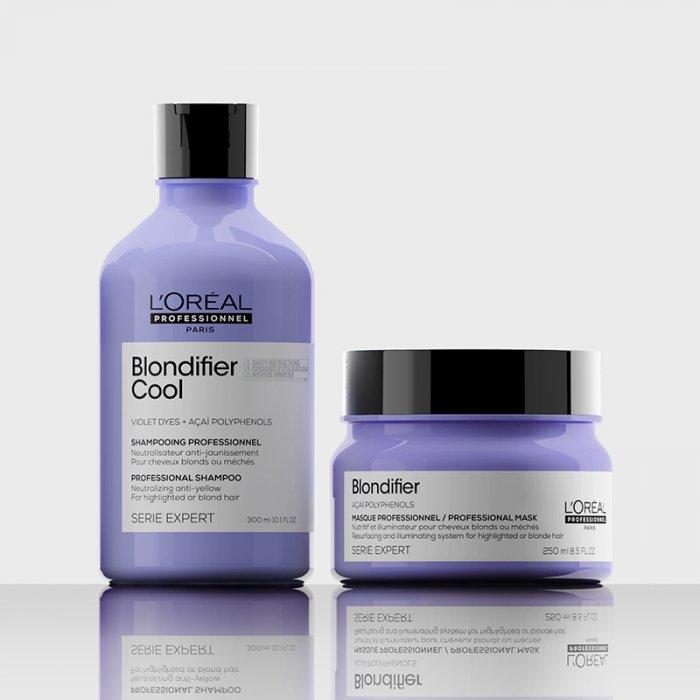 L'OREAL SERIE EXPERT BLONDIFIER COOL KIT SHAMPOO-MASQUE - Per capelli biondi. Neutralizza i riflessi gialli dei capelli biondi.