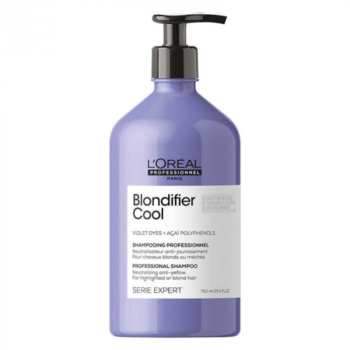 L'OREAL SERIE EXPERT BLONDIFIER COOL SHAMPOO 750 ml - Shampoo per capelli biondi. Neutralizza i riflessi gialli dei capelli biondi.