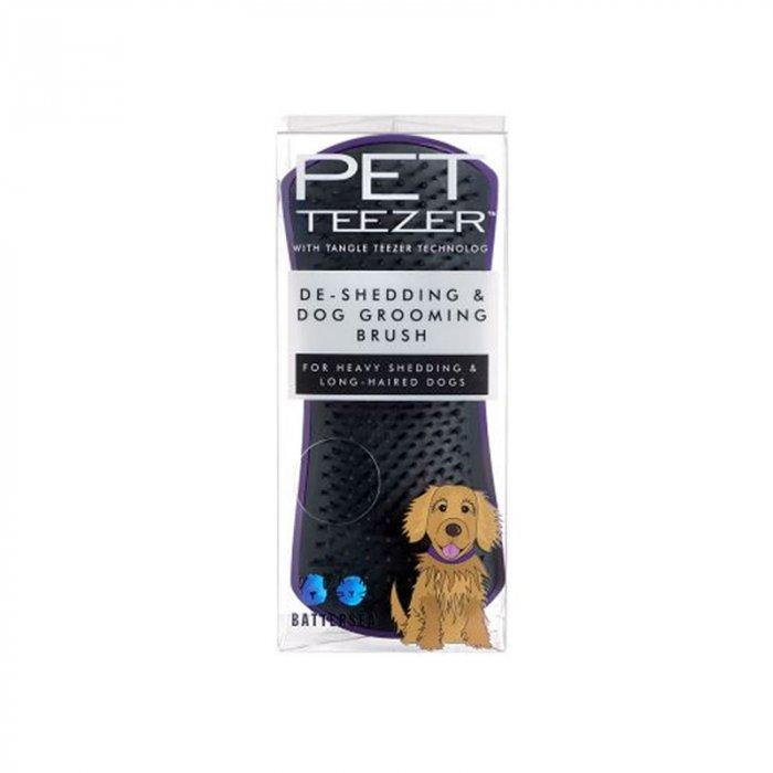 PET TEEZER DE SHEDDING DOG GROOMING BRUSH BLACK