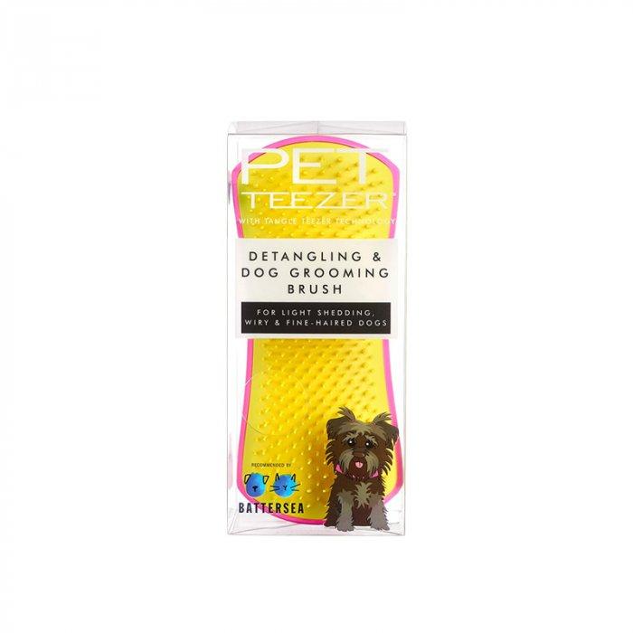 PET TEEZER DETANGLING DOG GROOMING BRUSH PINK/YELLOW