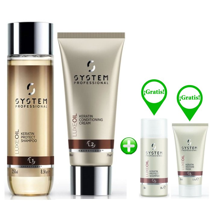 WELLA SYSTEM PROFESSIONAL KIT LUXE OIL SHAMPOO-CONDITIONER E MINI SHAMPOO + MINI MASK OMAGGIO